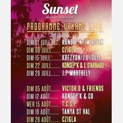 Programme SUNSET Dimanches Vakans Live Juillet/aout